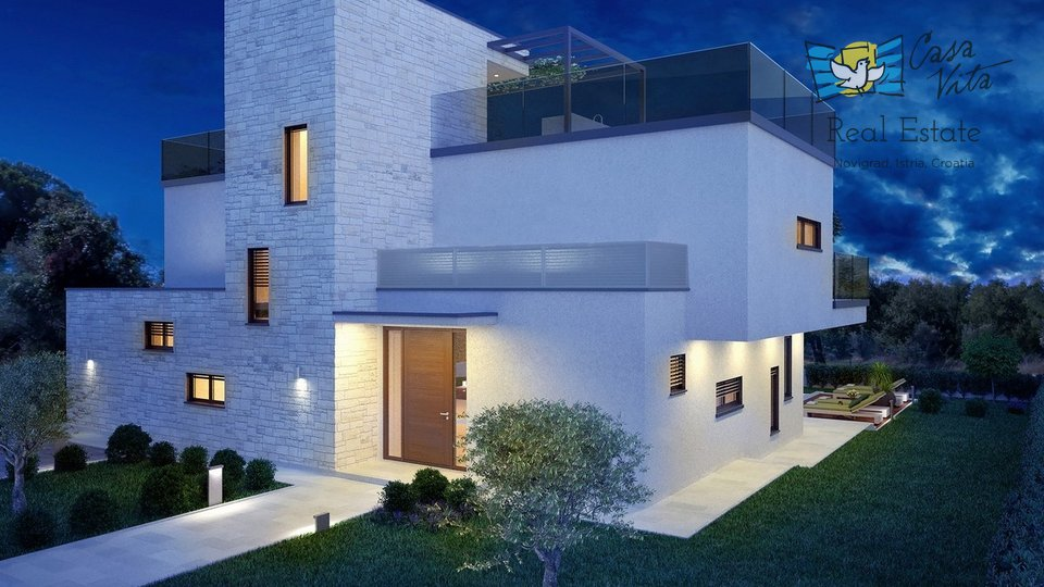 Prodaje se predivna vila moderne arhitekture na jako traženoj lokaciji, 2km od Poreča i 1,5km od mora.