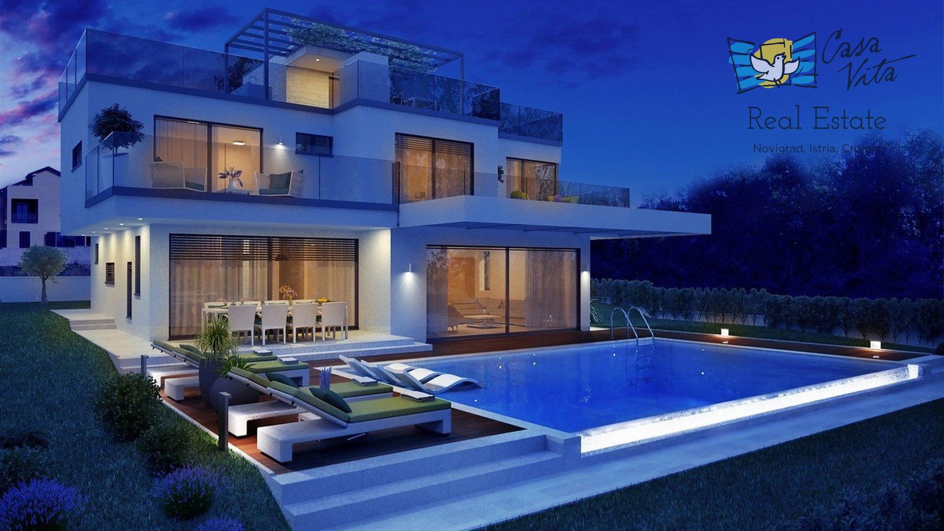 In vendita è una bellissima villa di architettura moderna in una posizione molto ricercata, a 2 km da Parenzo e 1,5 km dal mare.