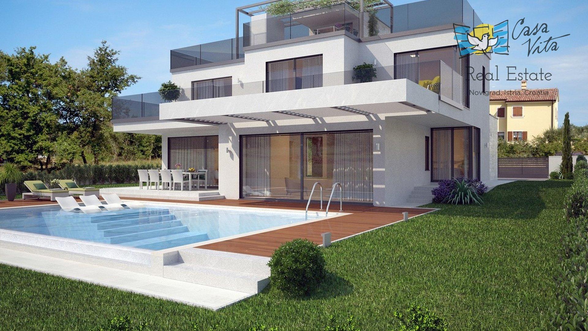 Zum Verkauf steht eine wunderschöne Villa mit moderner Architektur in begehrter Lage, 2 km von Poreč und 1,5 km vom Meer entfernt.