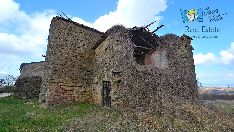 Stone house for renovation ,with stunning view over the see and fields